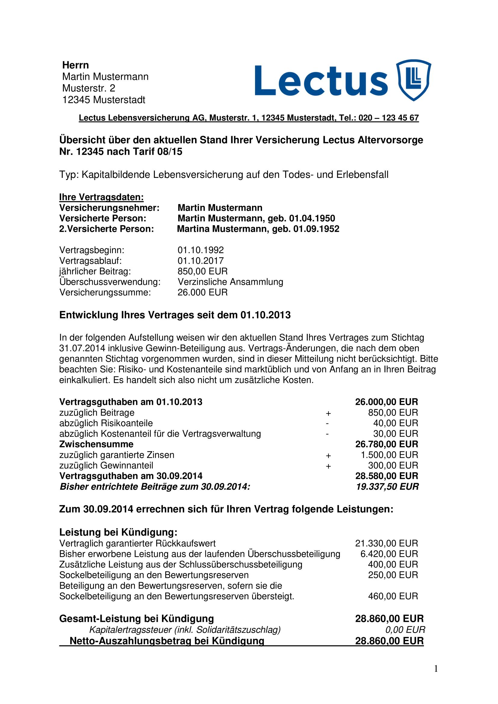 Kundigung Rentenversicherung Muster 7